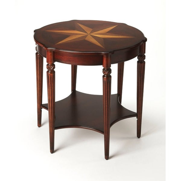 Solid Wood Lightly Distressed Accent Table in Plantation Cherry Finish. Opens flyout.
