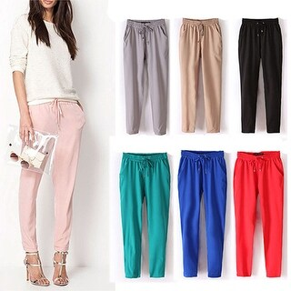 Women Fashion Casual Chffion Pants Solid Color Elastic Waist Full Length Trousers