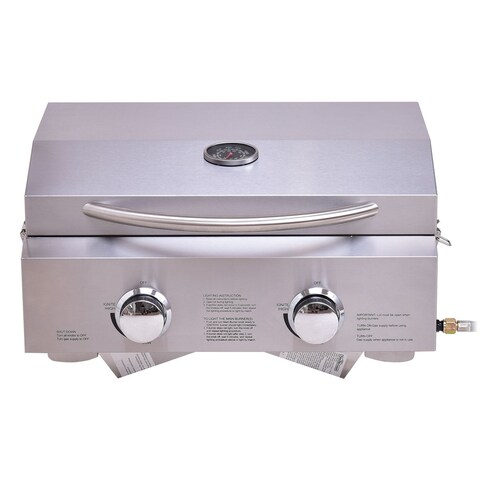 Costway 2 Burner Portable BBQ Table Top Propane Gas Grill Stainless Steel