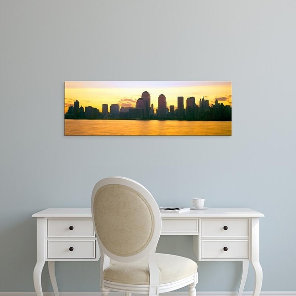 Easy Art Prints Panoramic Images's 'Lower Manhattan Skyline at Sunrise, from New Jersey' Premium Canvas Art