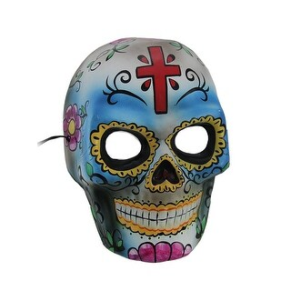 Colorful Day of the Dead Full Face Sugar Skull Mask w/Red Cross