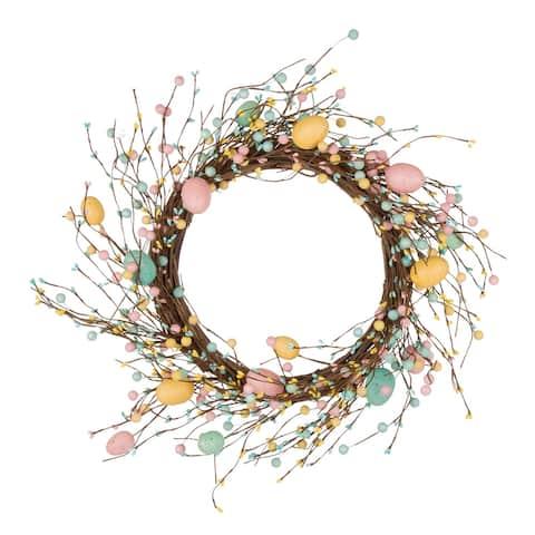 "Glitzhome 22""D Artificial Easter Eggs Wreath"