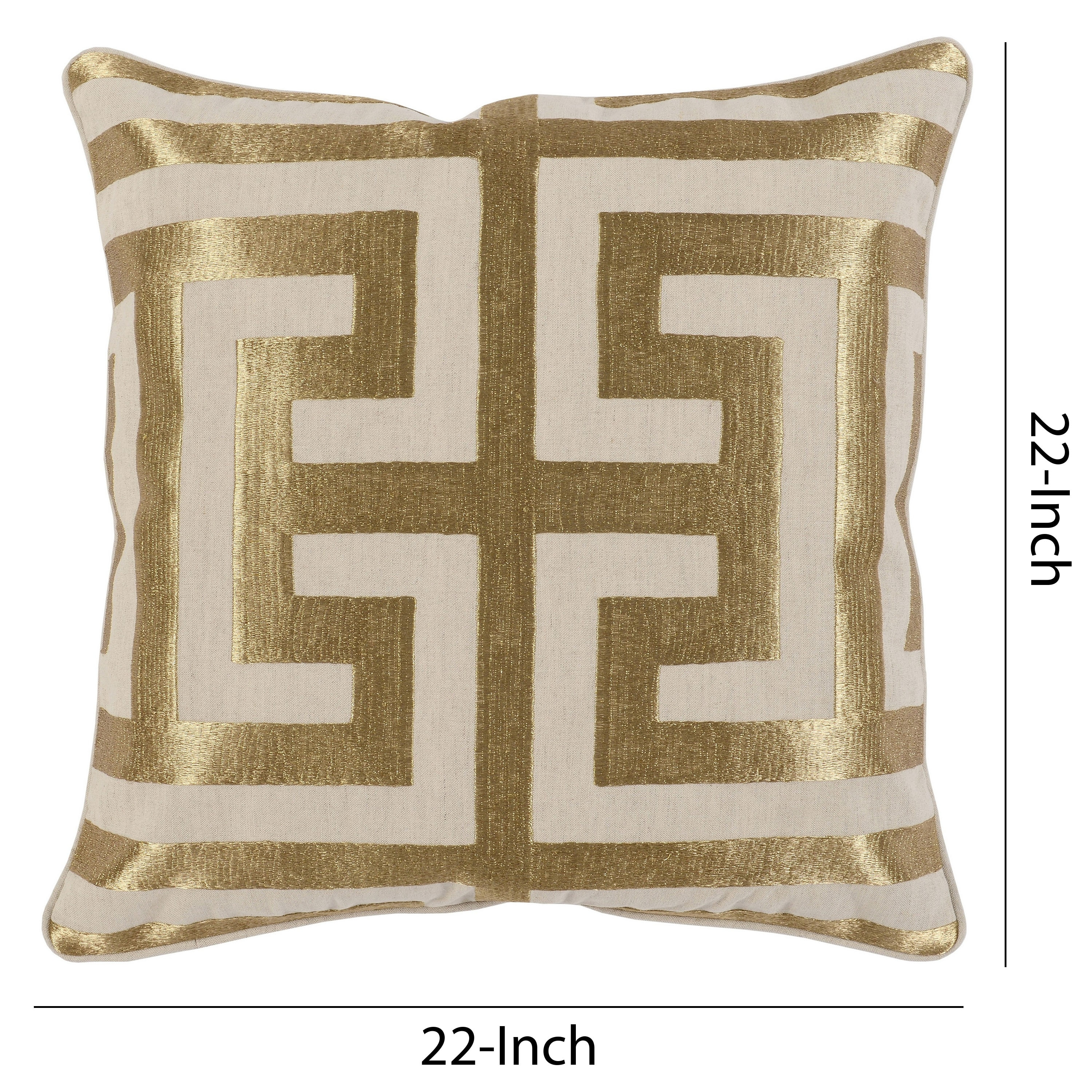 Square Fabric Throw Pillow With Metallic Embroidered Details Cream And Gold Cream And Gold Overstock 31836627
