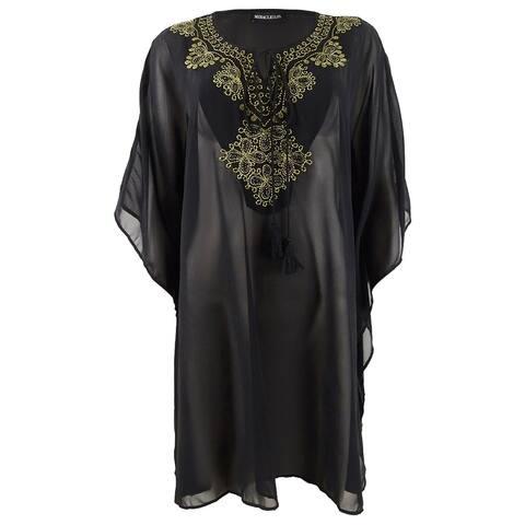Miraclesuit Women's Embellished Kaftan Swim Top Cover-Up - Black