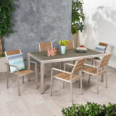 Cape Coral Outdoor Modern 6 Seater Aluminum Dining Set with Faux Wood Seats by Christopher Knight Home