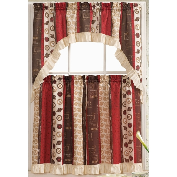 Shop Latte 3 Piece Printed Kitchen Curtain Set Brown Red