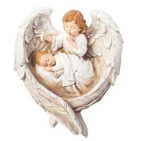 """Pack of 2 Ivory White and Brown Hush A Bye Guardian Angel Decorative Wall Plaques 12.75"""""""