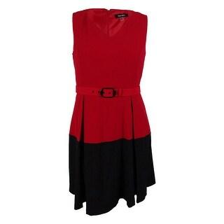 Nine West Women's Sleeveless Belted A-Line Dress