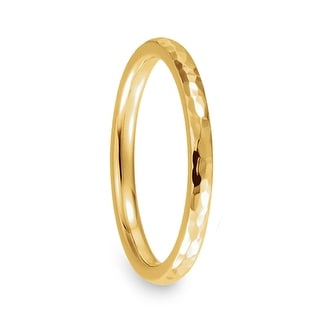 14k Yellow Gold Domed Wedding Band With Polished Hammer Finish 2mm