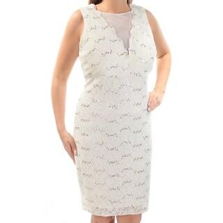 NW WOMEN $99 Womens New 1243 Ivory Lace Sequined Sleeveless Dress 14W Plus B+B