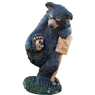"Design House 328203  Wipe Your Paws 24"" Bear Lawn Decoration - Multicolor"