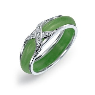 Bling Jewelry 925 Sterling Silver Dyed Jade Cubic Zirconia Crossover Motif Band - Green