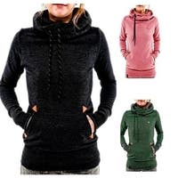 Women Funnel Neck Hoodie Lightweight Hooded Sweatshirt