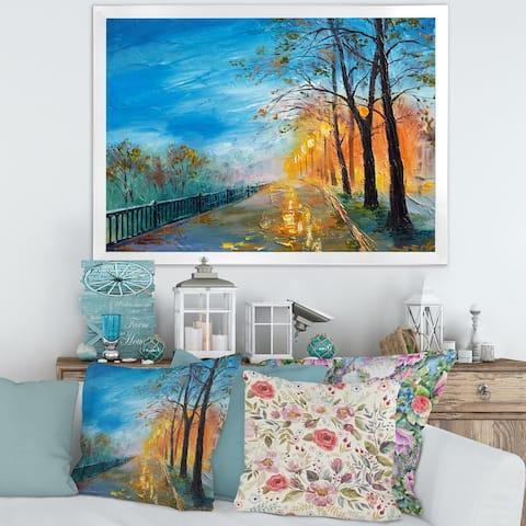 Designart 'Evening on Autumn Road' Traditional Framed Art Print