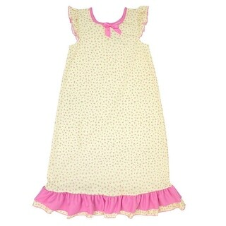 Laura Dare Little Girls Yellow Pink Floral Print Ruffle Trim Nightgown
