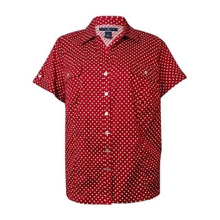 Karen Scott Women's Polka Dot Dobby Button-Down Shirt