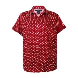 Karen Scott Women's Polka Dot Dobby Button-Down Shirt
