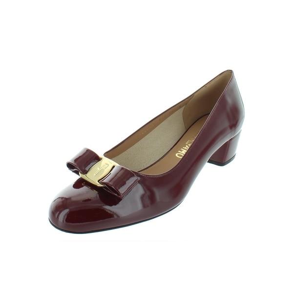 164f488fef Salvatore Ferragamo Womens Vara Dress Pumps Patent Leather Block Heel - 8  Medium (B,