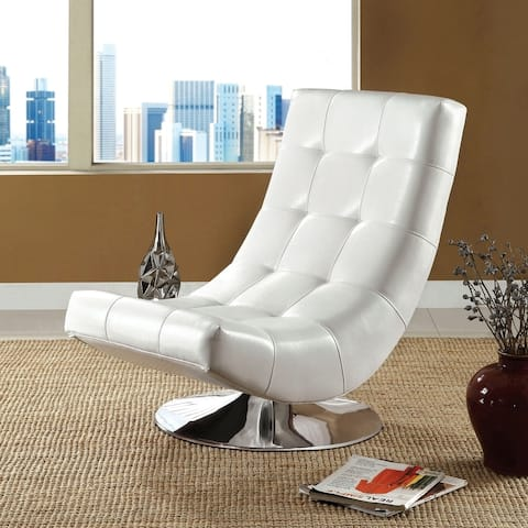 Furniture of America Poss Modern Faux Leather Swivel Chair