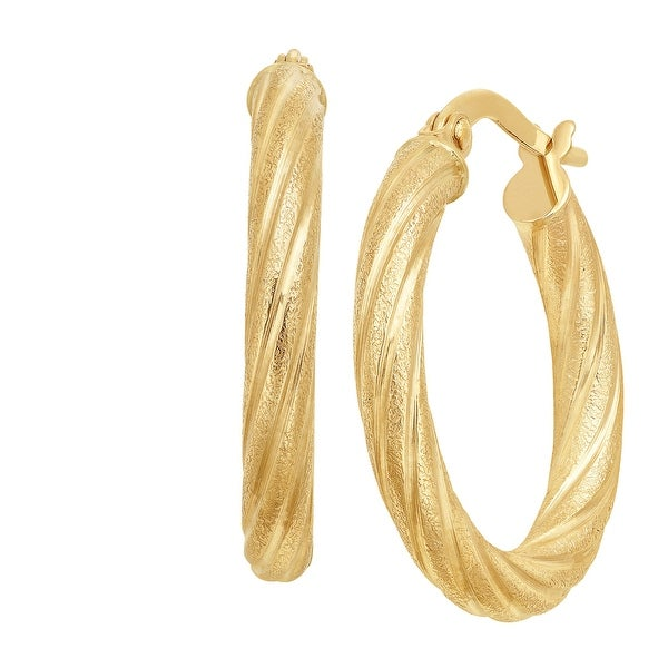 Just Gold Twisted Hoop Earrings in 10K Gold - YELLOW