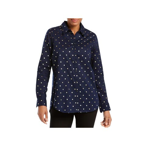 Foxcroft Womens Zoey Button-Down Top Metallic Long Sleeves