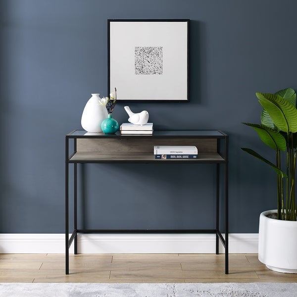 Carbon Loft Geller Compact Desk with Glass Top. Opens flyout.