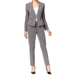 Tahari By ASL NEW Gray Women's Size 6 Collarless Zipped Pant Suit Set