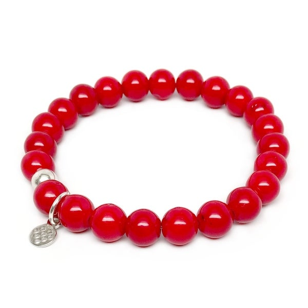 "Red Jade Lucy 7""Sterling Silver Stretch Bracelet"