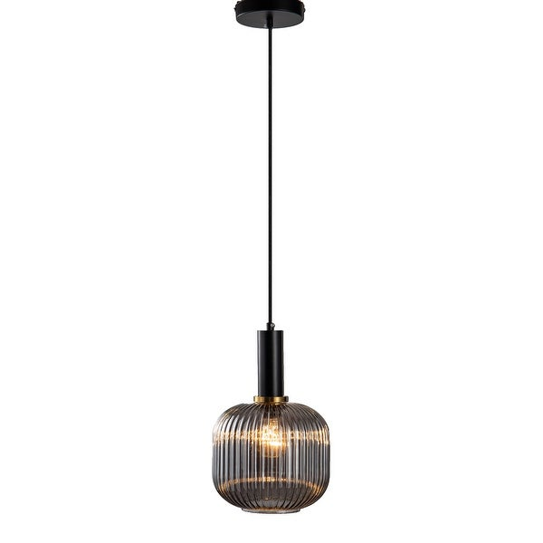 Black & Antique Gold Pendant With Smoke Shade. Opens flyout.