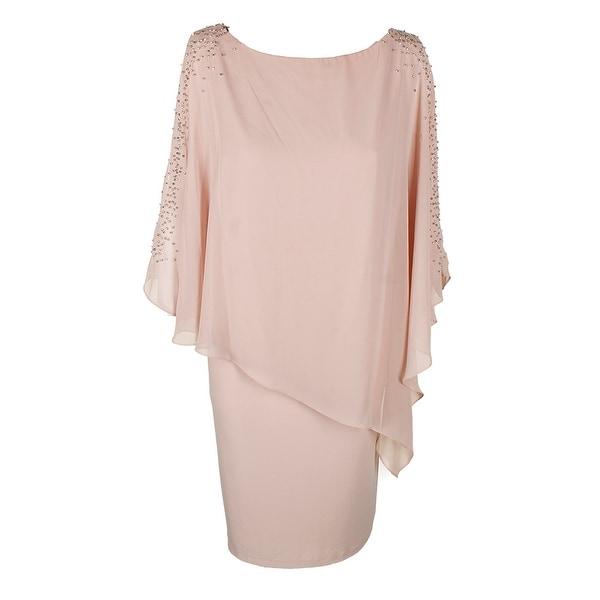 ebb102fff63 Shop Xscape Plus Size Blush Beaded Chiffon Popover Shift Dress 18W ...