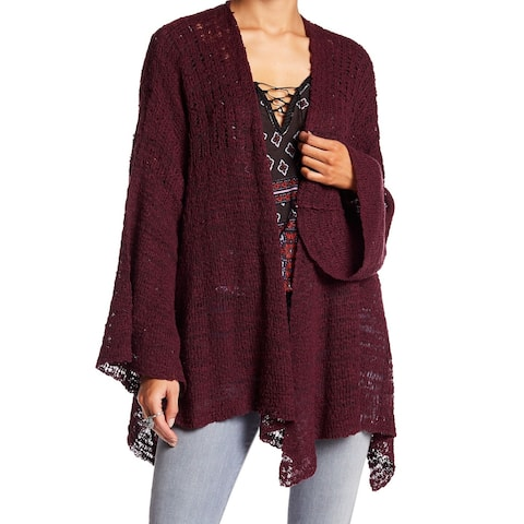 Free People Red Plum Womens Size Small S Cardigan Bell Sweater