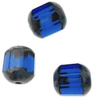 Czech Glass Cathedral Window Beads 8mm 'Sapphire/Picasso' (12)