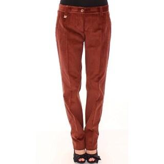 Dolce & Gabbana Brown Corduroys Straight Logo Casual Pants