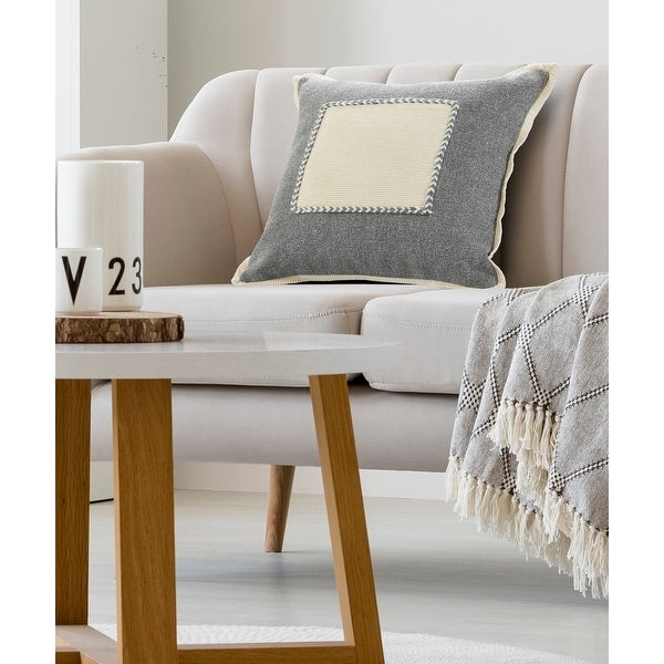 Neutral Gray Riviera Framed Throw Pillow. Opens flyout.