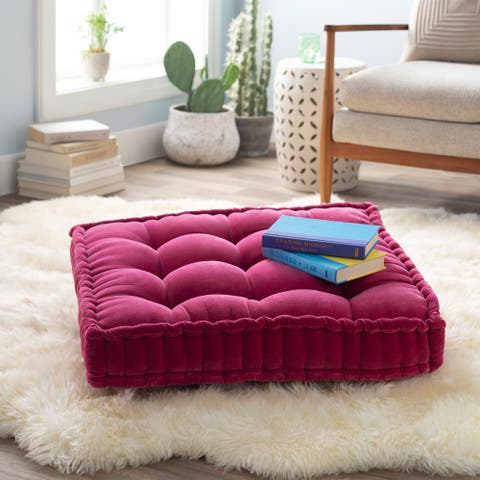 The Curated Nomad Atlanta 24-inch Pink Square Tufted Velvet Floor Pillow