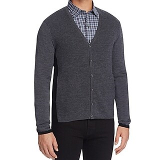 ZACHARY PRELL NEW Gray Mens Small S Colorblock Cardigan Wool Sweater
