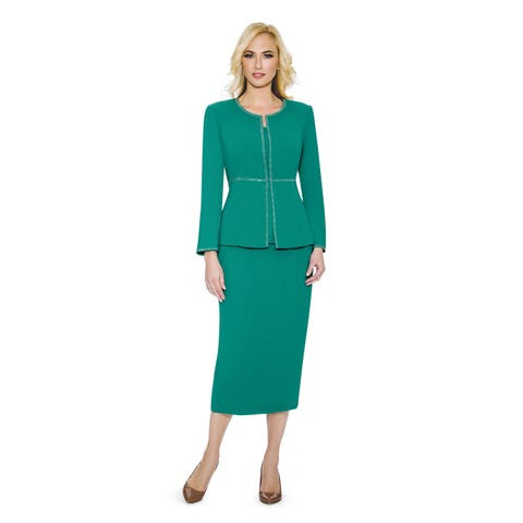 Giovanna Signature Women's Embellished 3-piece Washable Skirt Suit