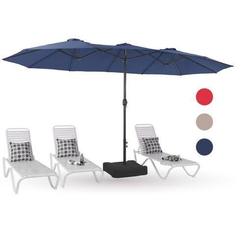 PHI VILLA 15ft Patio Umbrella Double-Sided Outdoor Market Twin Umbrella