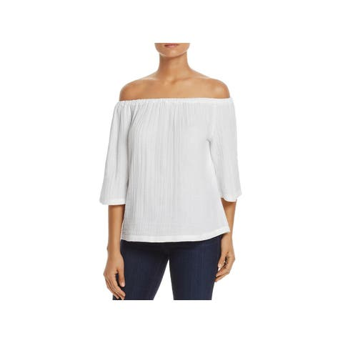 Beach Lunch Lounge Womens Giana Casual Top Sheer Off the Shoulder