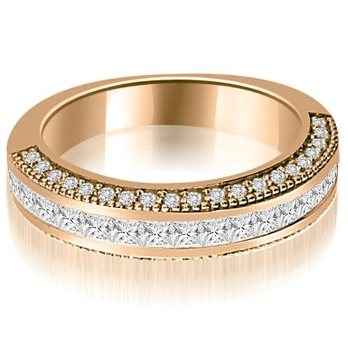 1.20 cttw. 14K Rose Gold Princess and Round Diamond Antique Wedding Band