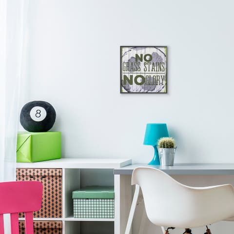 The Kids Room by Stupell No Grass Stains No Glory Soccer Sports Word Design Framed Wall Art, 12x12,Proudly Made in USA