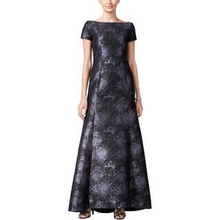 B Michael Womens Evening Dress Printed Off-the-Shoulder