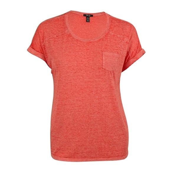 Style & Co Women's One Pocket Burnout Tee Shirt - dark rose
