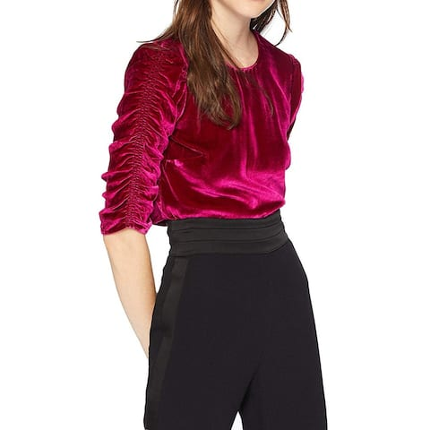 Rebecca Taylor Womens Deep Red Size 10 Velvet Ruched-Sleeve Blouse