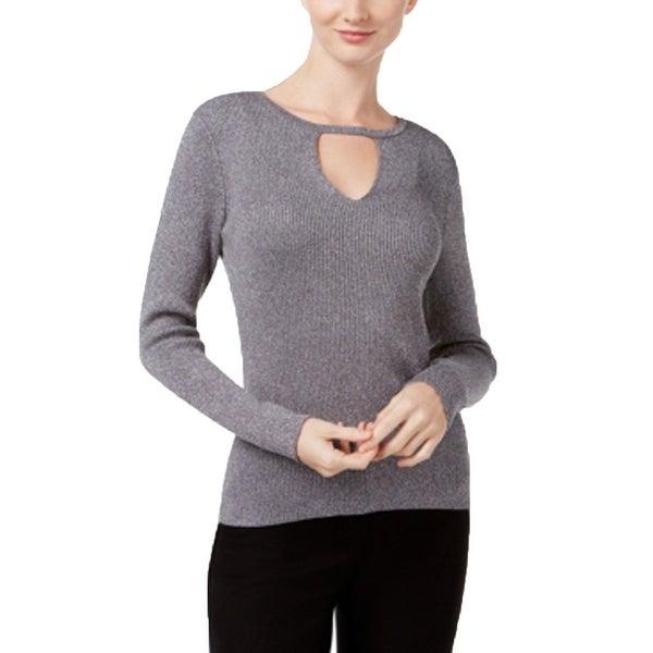INC International Concepts Women's Petite Cutout Sweater Silver P/S - Small Petite