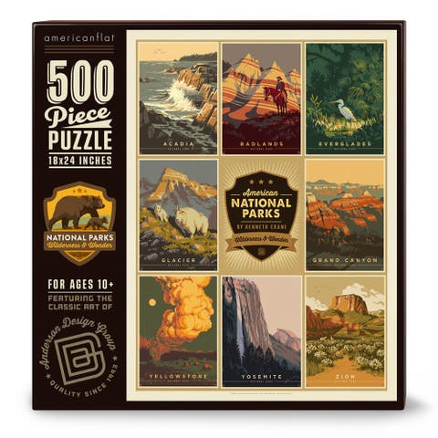 Americanflat 500 Piece Jigsaw Puzzle, 18x24 Inches, American National Parks 4 Art by Anderson Design Group - 18 x 24