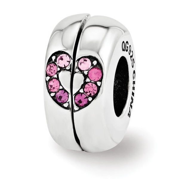 Sterling Silver Reflections Swarovski Elements Heart Magnetic Bead (4mm Diameter Hole)
