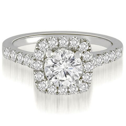 1.27 CT Single Halo Round Cut Diamond Engagement Ring in 14KT Gold - White H-I