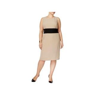 Kasper Womens Plus Wear to Work Dress Sleeveless Knee-Length - 18W