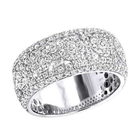 Mens Rings 14k Gold Unique Mens Diamond Wedding Band 2.75ctw by Luxurman